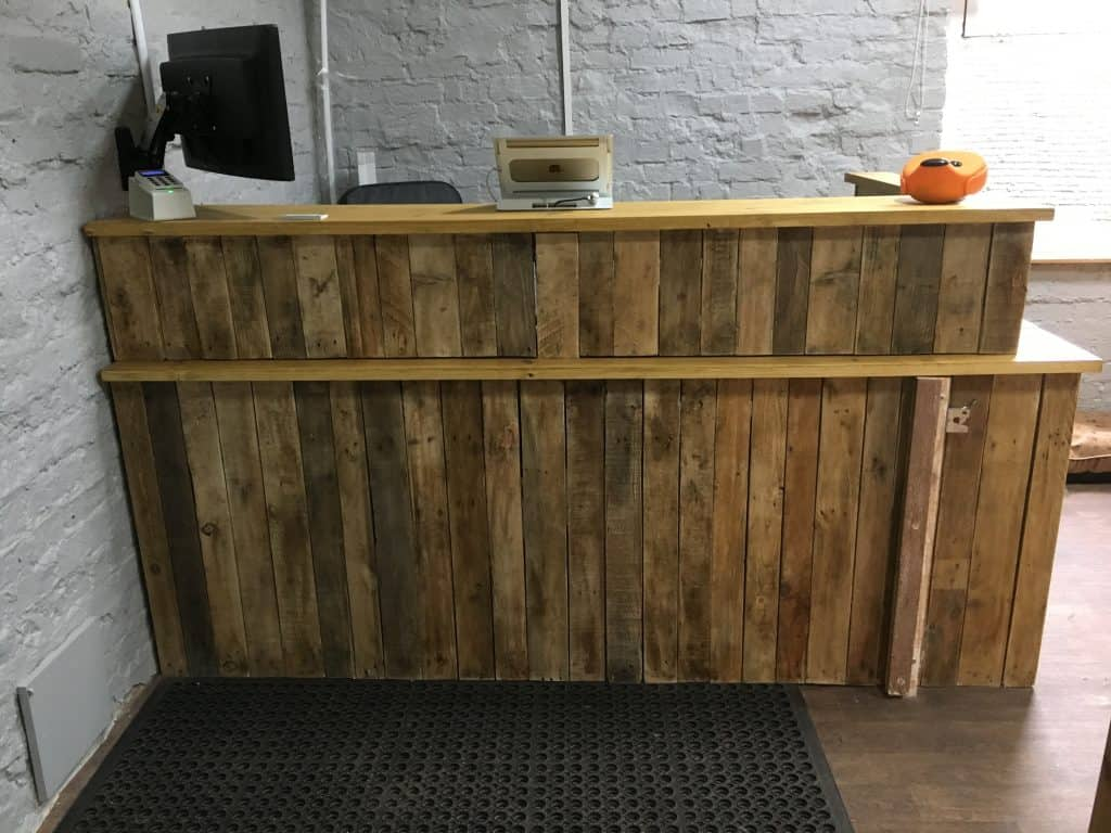 Front on view of the new reception desk at Scruffies Salon